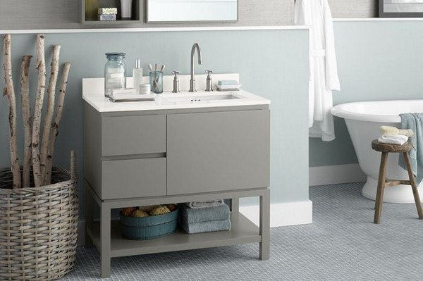 Ronbow 036036 R E01 Chloe 36 Inch Bathroom Vanity Base Cabinet In Blush Taupe Large Drawer