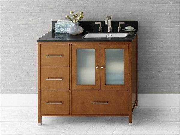 Ronbow 039236-1R-F08 Juno 36 Inch Bathroom Vanity Cabinet Base in Cinnamon - Doors on Right