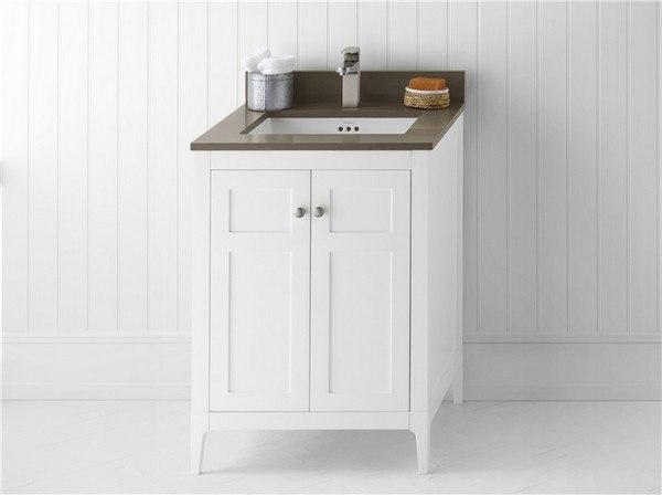 Ronbow 051724 3 W01 Briella 24 Inch Bathroom Vanity Cabinet Base In White