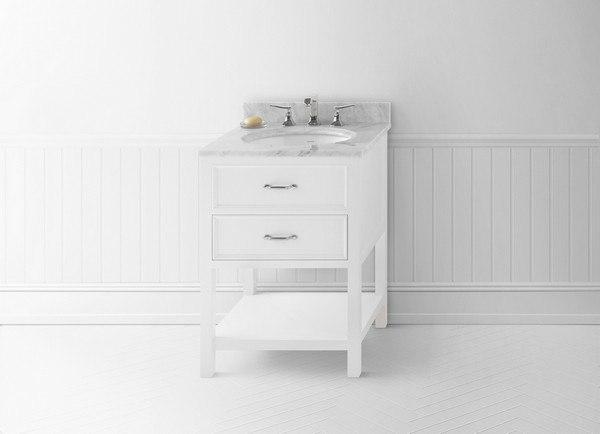 Ronbow 052724 W01 Newcastle 24 Inch Bathroom Vanity Cabinet Base In White 052724w01