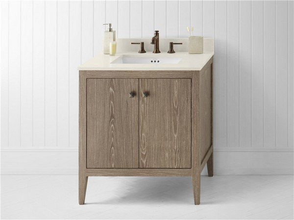 Ronbow 058330 E34 Sophie 30 Inch Bathroom Vanity Cabinet Base In Aged Oak