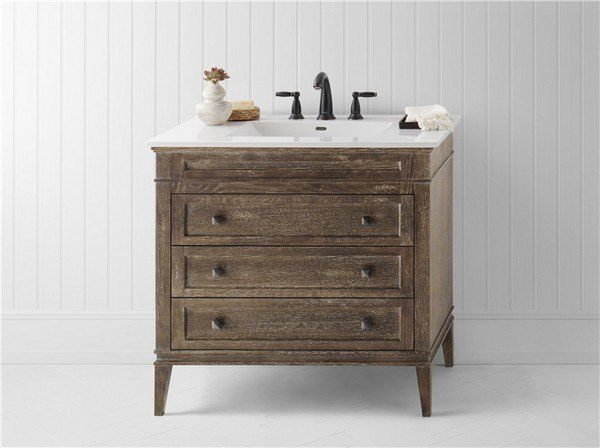Ronbow 059436-R12 Laurel 36 Inch Bathroom Vanity Cabinet Base in Vintage Café