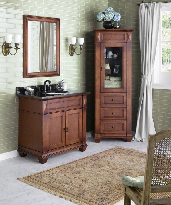 Ronbow 062836 F11 Torino 36 Inch Bathroom Vanity Cabinet Base In Colonial Cherry