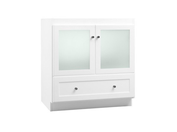 Ronbow 080830 1 W01 Shaker 30 Inch Bathroom Vanity Cabinet Base In White Frosted Gl Doors 0808301w01