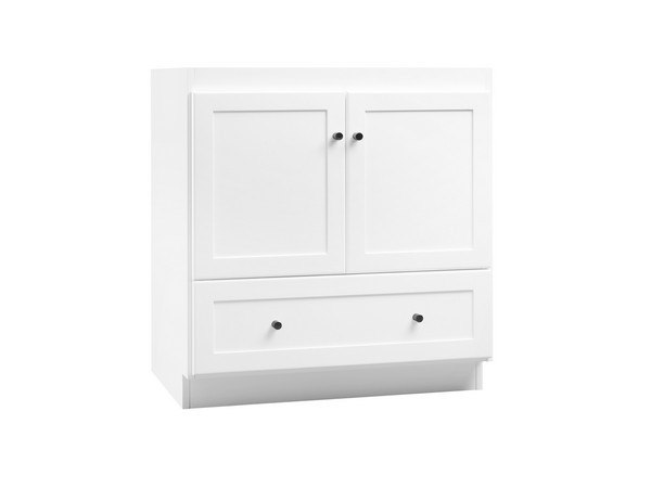 Ronbow 080830-3-W01 Shaker 30 Inch Bathroom Vanity Cabinet Base in White - Wood Doors