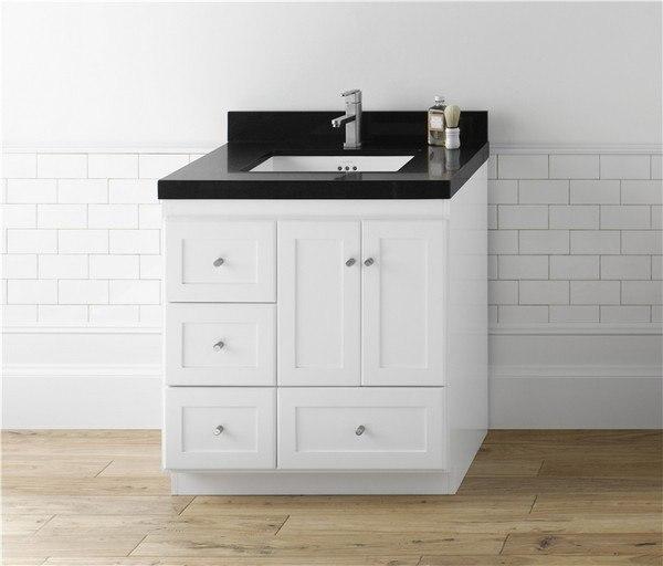 Ronbow 081930 3r W01 Shaker 30 Inch Bathroom Vanity Cabinet Base In White Wood Doors On