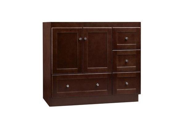 Ronbow 081936 3l H01 Shaker 36 Inch Bathroom Vanity Cabinet Base In Dark Cherry Wood Doors