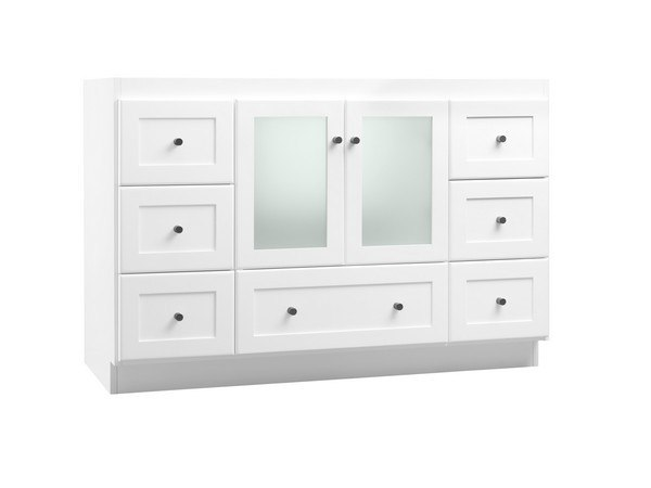 RONBOW 081948-1-W01 SHAKER 48 INCH BATHROOM VANITY CABINET BASE IN WHITE - FROSTED GLASS DOORS