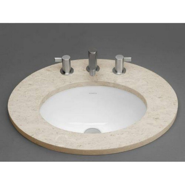 Ronbow 200555-WH Oval Ceramic Undermount Bathroom Sink in White