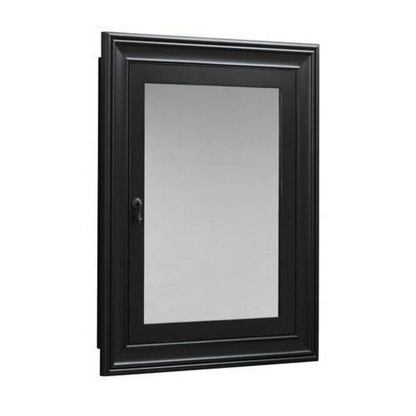 Ronbow 611027-B01 Traditional Solid Wood Framed Medicine Cabinet in Antique Black