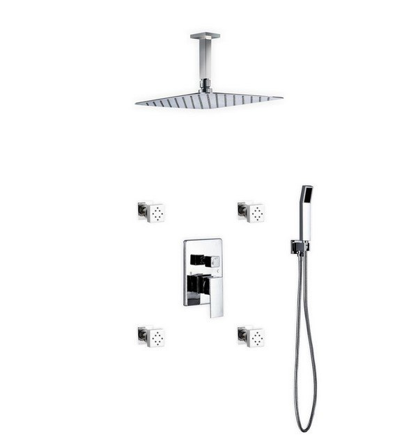 KUBEBATH CR3004JHH3V AQUA PIAZZA BRASS SHOWER SET WITH 12 INCH CEILING MOUNT SQUARE RAIN SHOWER, 4 BODY JETS AND HANDHELD
