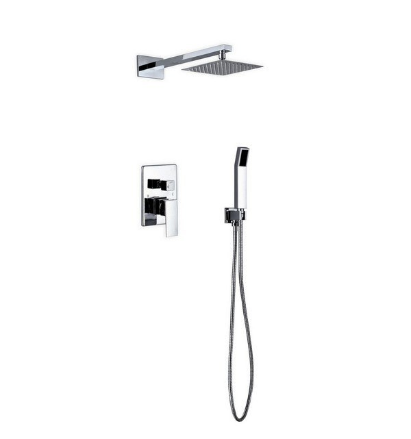 KUBEBATH WR200HH2V AQUA PIAZZA BRASS SHOWER SET WITH 8 INCH SQUARE RAIN SHOWER AND HANDHELD IN CHROME