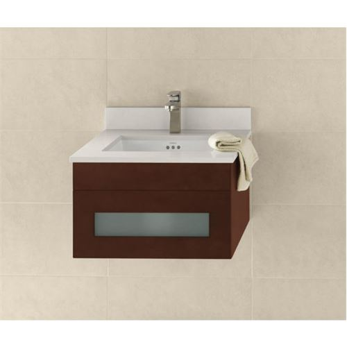 Ronbow 010123-1-H01 Rebecca 23 Inch Wall Mount Bathroom Vanity Base Cabinet in Dark Cherry