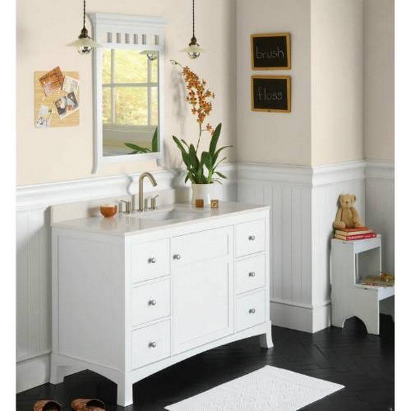 ronbow 362249 1 q28 techstone 49 x 22 inch vanity top in wide white 3 4 inch thick 362249 1. Black Bedroom Furniture Sets. Home Design Ideas