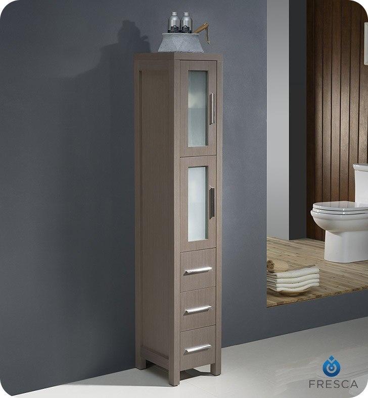 FST6260GO Torino Gray Oak Tall Bathroom Linen Side Cabinet