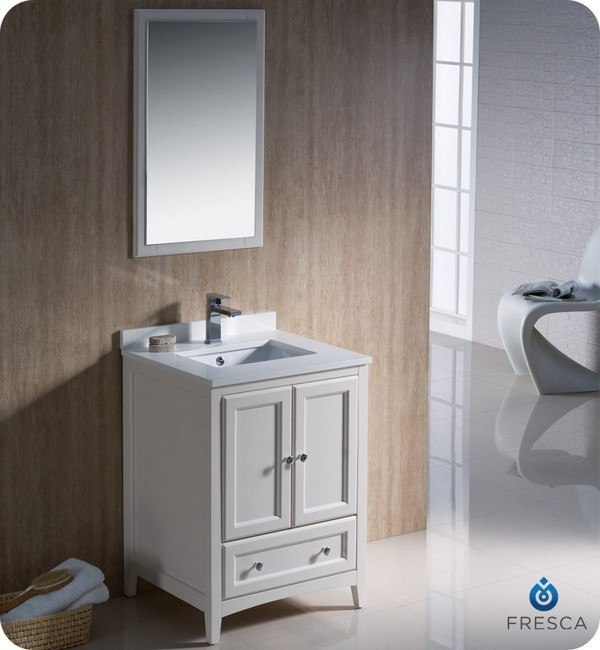 FRESCA FVN2024AW OXFORD 24 INCH ANTIQUE WHITE TRADITIONAL BATHROOM VANITY