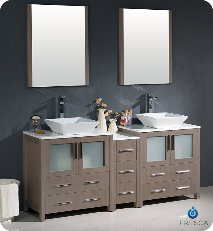 Surprising Fresca Fvn62 301230Go Vsl Torino 72 Inch Gray Oak Modern Double Sink Bathroom Vanity With Side Cabinet And Vessel Sinks Home Interior And Landscaping Ologienasavecom