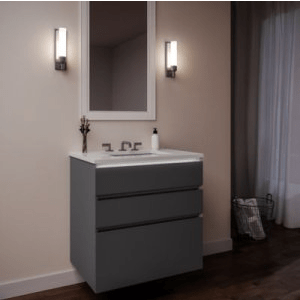 ROBERN 36279200TB00003 CARTESIAN 36 INCH THREE DRAWER DECORATIVE GLASS VANITY IN MATTE GRAY WITH ENGINEERED STONE VANITY TOP IN QUARTZ WHITE AND NIGHT LIGHT