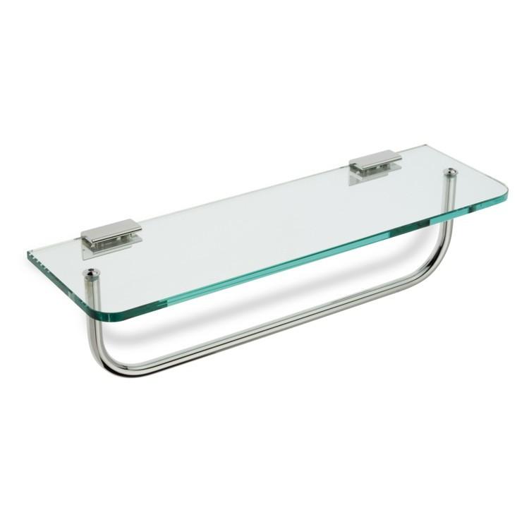 STILHAUS 765 SHELVES 23.6 INCH CLEAR GLASS BATHROOM SHELF WITH TOWEL BAR