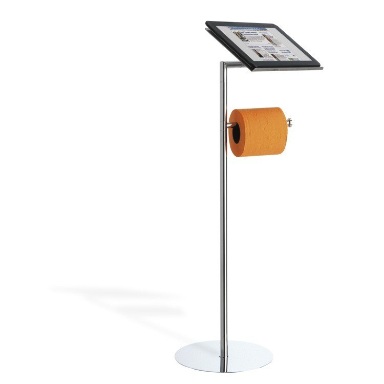 StilHaus 966 Gea Floor Standing Toilet Roll Holder with Tablet Holder