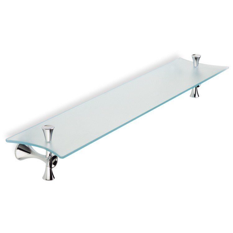 STILHAUS CA04-08 CALI 25.6 INCH FROSTED GLASS BATHROOM SHELF WITH CHROME HOLDERS