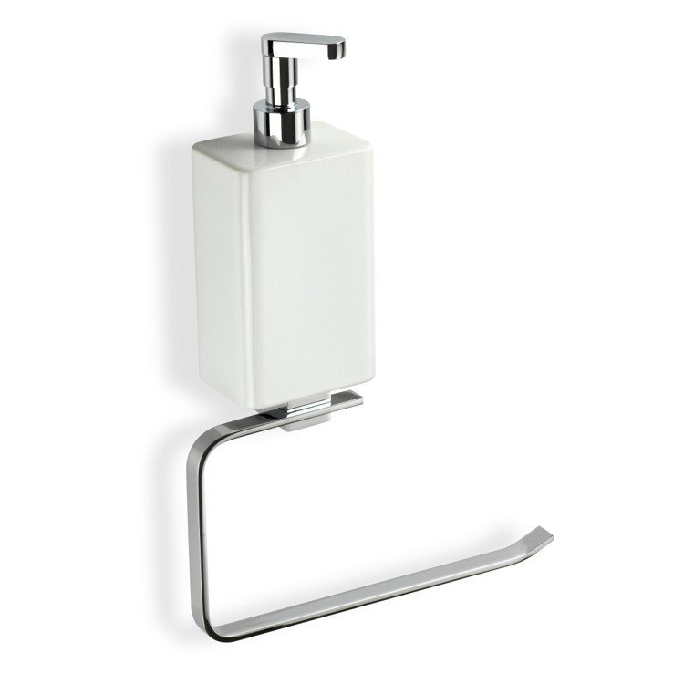 STILHAUS GE79D GEA CHROME TOWEL HOLDER WITH WHITE SOAP DISPENSER