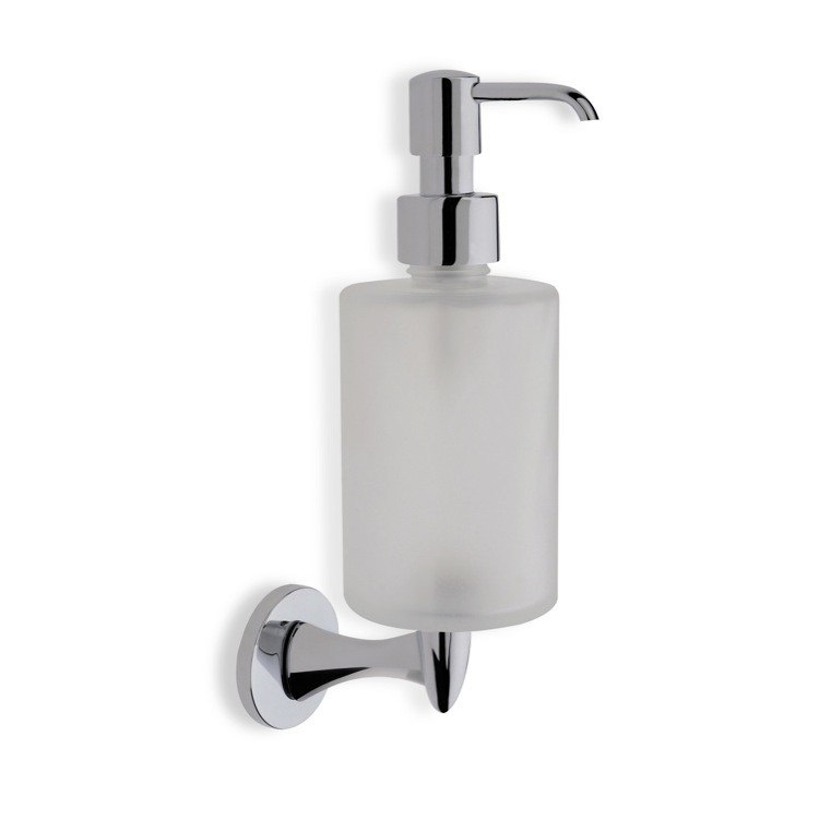 STILHAUS H30-08 HOLIDAY WALL MOUNTED ROUND FROSTED GLASS SOAP DISPENSER WITH CHROME MOUNTING