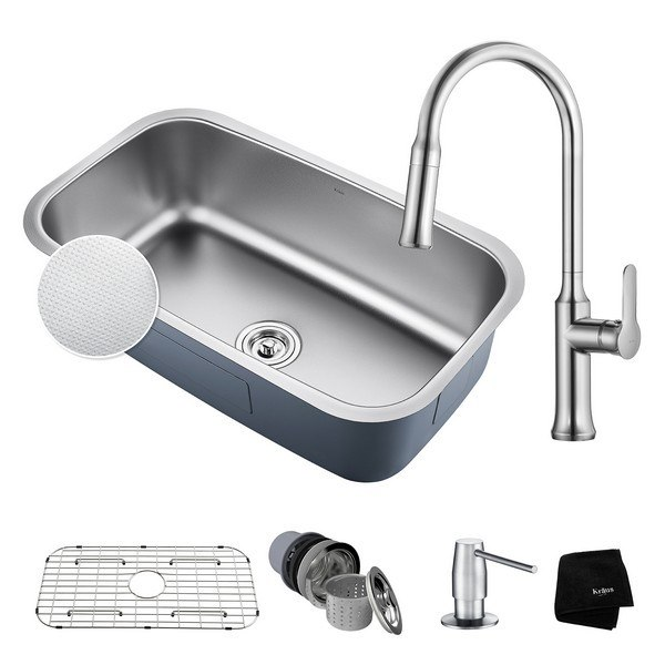 Kraus KBU14E-1630-42CH Undermount Stainless Steel 31-1/2 Inch Single Bowl Kitchen Sink and Nola Single Handle Pull Down Kitchen Faucet with Soap Dispenser in Chrome