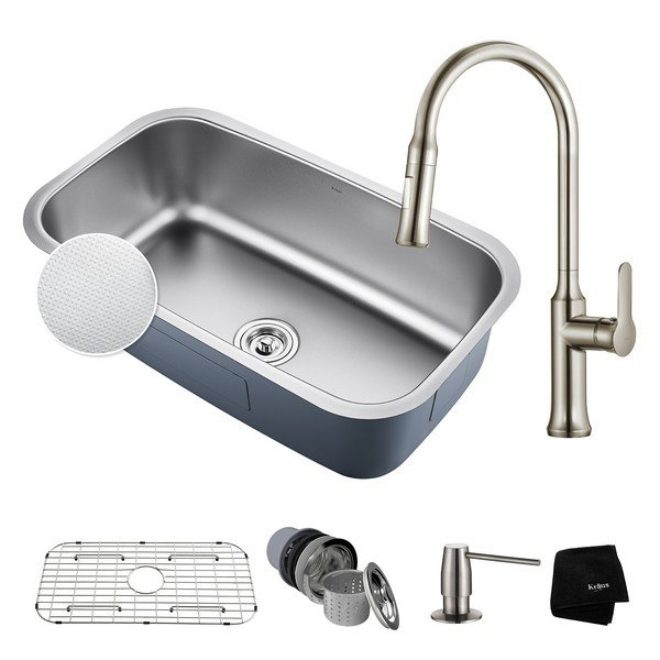 KRAUS KBU14E-1630-42SS UNDERMOUNT STAINLESS STEEL 31-1/2 INCH SINGLE BOWL KITCHEN SINK AND NOLA SINGLE HANDLE PULL DOWN KITCHEN FAUCET WITH SOAP DISPENSER IN STAINLESS STEEL
