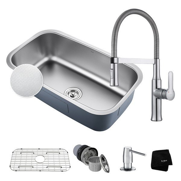 KRAUS KBU14E-1640-42CH UNDERMOUNT STAINLESS STEEL 31-1/2 INCH SINGLE BOWL KITCHEN SINK AND NOLA SINGLE HANDLE FLEX COMMERCIAL KITCHEN FAUCET WITH SOAP DISPENSER IN CHROME