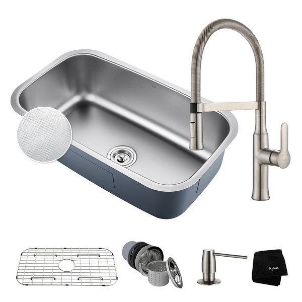 Kraus Kbu14e 1640 42ss Undermount Stainless Steel 31 1 2 Inch Single Bowl Kitchen Sink And Nola Single Handle Flex