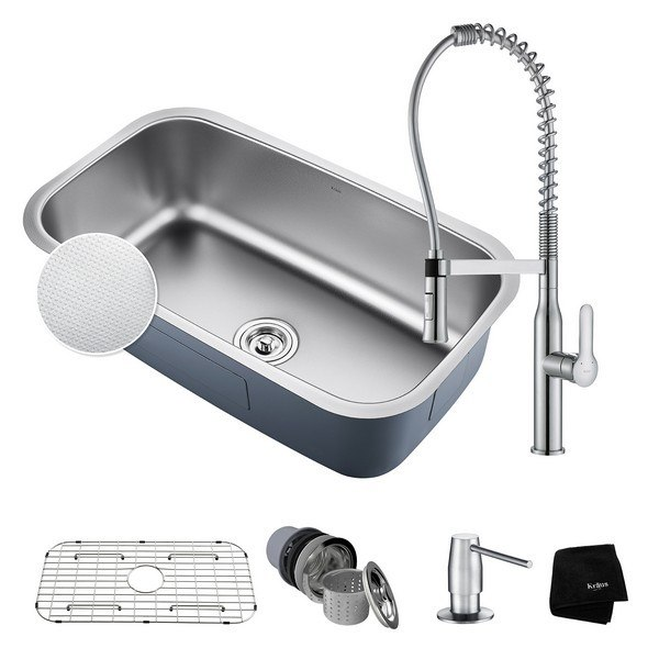Kraus KBU14E-1650-42CH Outlast MicroShield Undermount Stainless Steel 31-1/2 Inch Single Bowl Kitchen Sink and Nola Commercial Kitchen Faucet with Soap Dispenser in Chrome