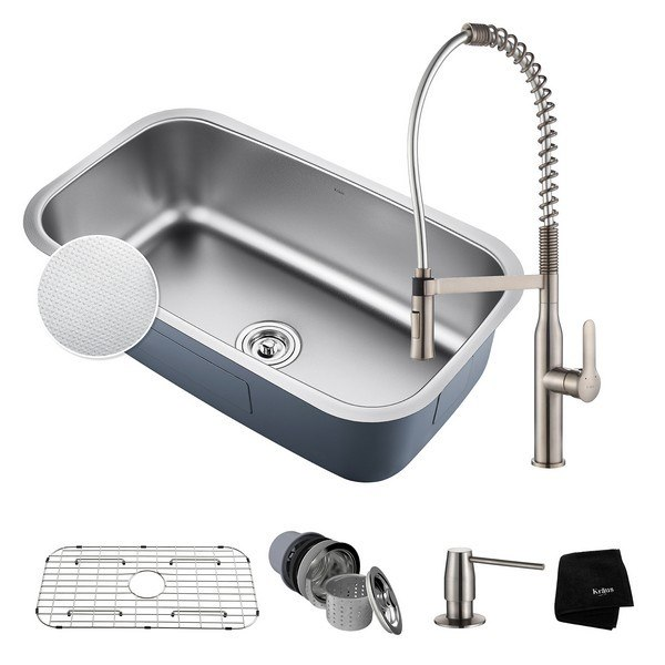 Kraus KBU14E-1650-42SS Outlast MicroShield Undermount Stainless Steel 31-1/2 Inch Single Bowl Kitchen Sink and Nola Commercial Kitchen Faucet with Soap Dispenser in Stainless Steel