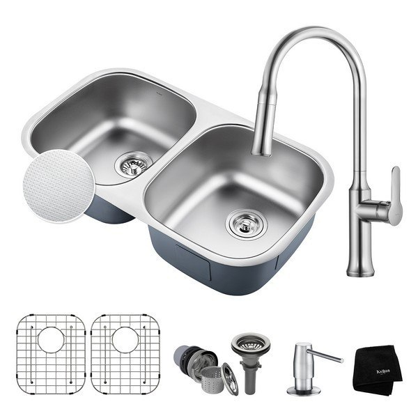 KRAUS KBU22E-1630-42CH OUTLAST MICROSHIELD UNDERMOUNT STAINLESS STEEL 32 INCH 50/50 DOUBLE BOWLKITCHEN SINK AND NOLA SINGLE HANDLE PULL DOWN KITCHEN FAUCET WITH SOAP DISPENSER IN CHROME