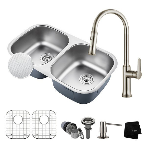 Kraus KBU22E-1630-42SS Outlast MicroShield Undermount Stainless Steel 32 Inch 50/50 Double BowlKitchen Sink and Nola Single Handle Pull Down Kitchen Faucet with Soap Dispenser in Stainless Steel