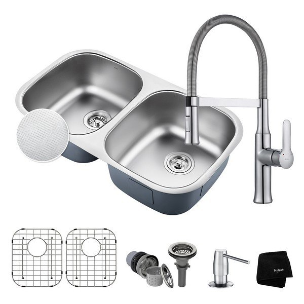 Kraus KBU22E-1640-42CH Outlast MicroShield Undermount 32 Inch Double Bowl Kitchen Sink and Nola Single Handle Flex Commercial Kitchen Faucet with Soap Dispenser in Chrome