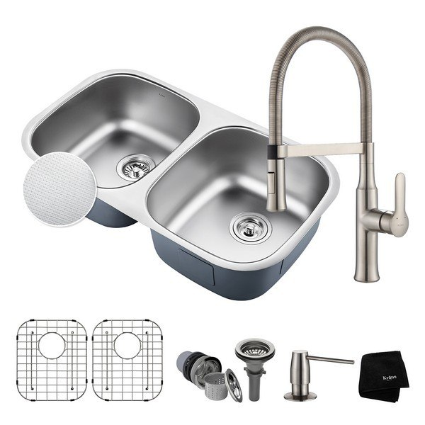 Kraus KBU22E-1640-42SS Outlast MicroShield Undermount 32 Inch Double Bowl Kitchen Sink and Nola Single Handle Flex Commercial Kitchen Faucet with Soap Dispenser in Stainless Steel