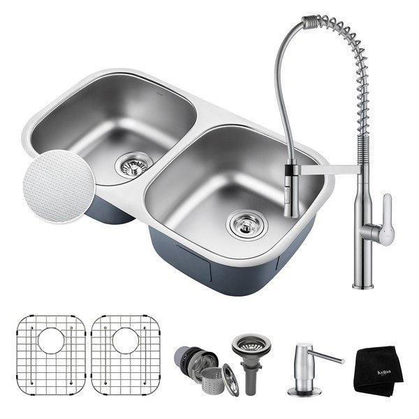 KRAUS KBU22E-1650-42CH OUTLAST MICROSHIELD UNDERMOUNT 32 INCH DOUBLE BOWL KITCHEN SINK AND NOLA COMMERCIAL KITCHEN FAUCET WITH SOAP DISPENSER IN CHROME