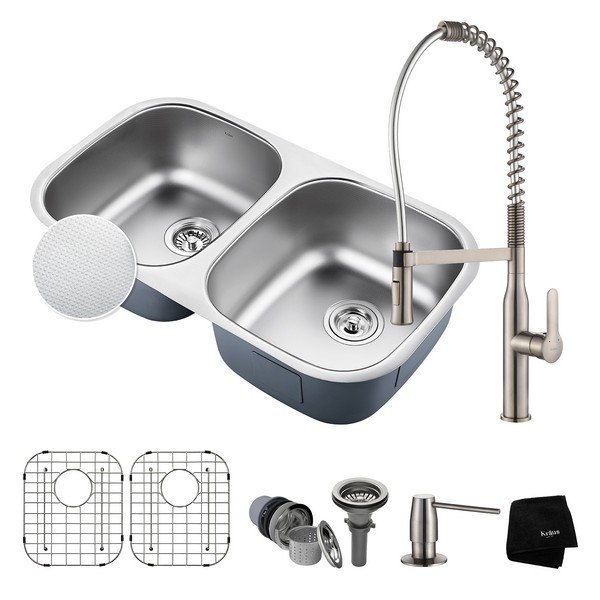 Kraus KBU22E-1650-42SS Outlast MicroShield Undermount 32 Inch Double Bowl Kitchen Sink and Nola Commercial Kitchen Faucet with Soap Dispenser in Stainless Steel