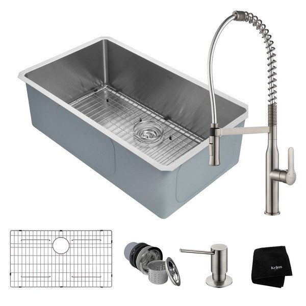 Kraus Khu100 32 1650 41ss Handmade Undermount 32 Inch Kitchen Sink And Nola Commercial Kitchen Faucet With Soap