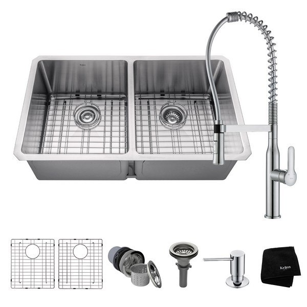 KRAUS KHU102-33-1650-41CH 33 INCH UNDERMOUNT 50/50 DOUBLE BOWL KITCHEN SINK AND NOLA COMMERCIAL KITCHEN FAUCET WITH SOAP DISPENSER IN CHROME