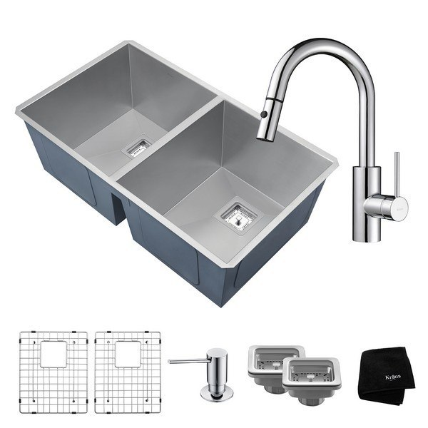 KRAUS KHU322-2620-41 ZERO-RADIUS 31-1/2 INCH HANDMADE UNDERMOUNT DOUBLE BOWL KITCHEN SINK AND OLETTO SINGLE HANDLE PULL DOWN KITCHEN FAUCET WITH SOAP DISPENSER