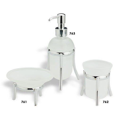 STILHAUS O100 OMEGA OMEGA FROSTED GLASS WITH CHROME BASE BATHROOM ACCESSORY SET