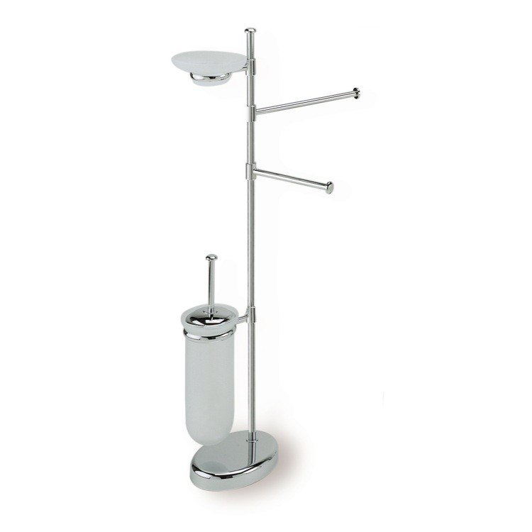 STILHAUS P21-08 PEGASO FREE STANDING CHROME 4-FUNCTION BATHROOM BUTLER