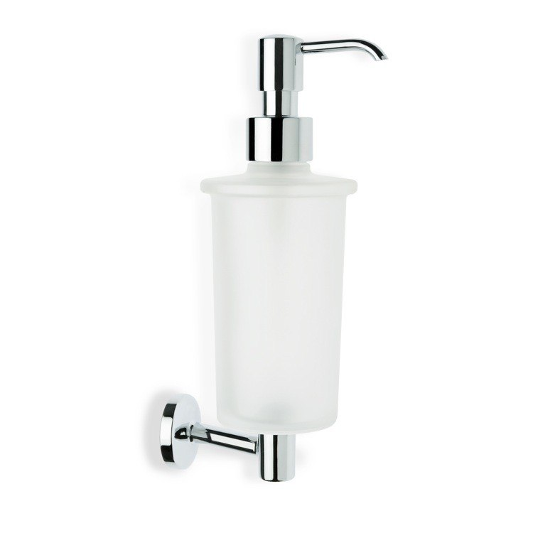 STILHAUS P30-08 PEGASO WALL MOUNTED FROSTED GLASS SOAP DISPENSER WITH BRASS