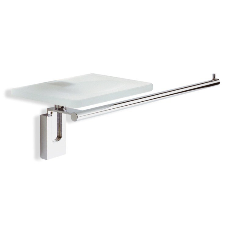 STILHAUS Q69-08 QUID 16 INCH CHROME TOWEL BAR WITH GLASS SOAP DISH