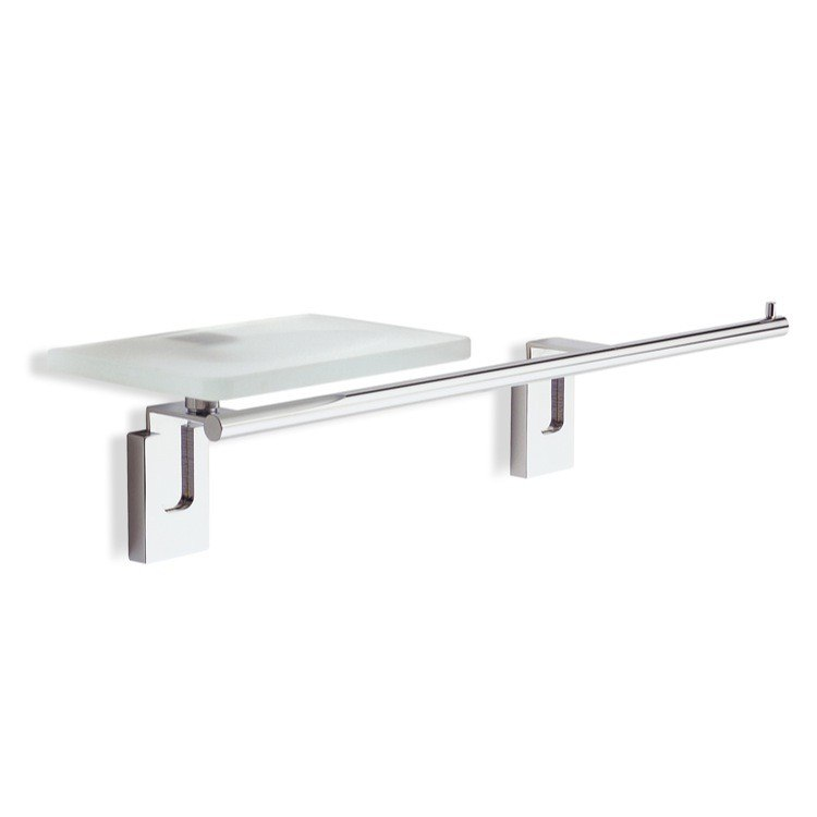 STILHAUS Q69.2-08 QUID 18 INCH CHROME TOWEL BAR WITH GLASS SOAP DISH AND ROLL HOLDER