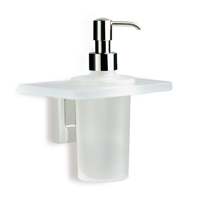 STILHAUS Q30-08 QUID WALL MOUNTED FROSTED GLASS SOAP DISPENSER