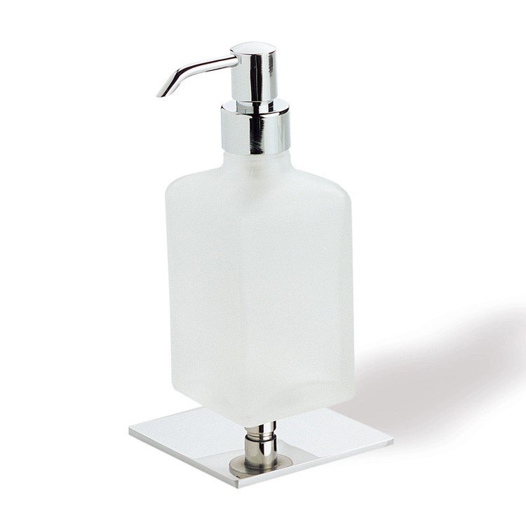 STILHAUS Q30AP-08 QUID FROSTED GLASS SOAP DISPENSER WITH CHROME BASE