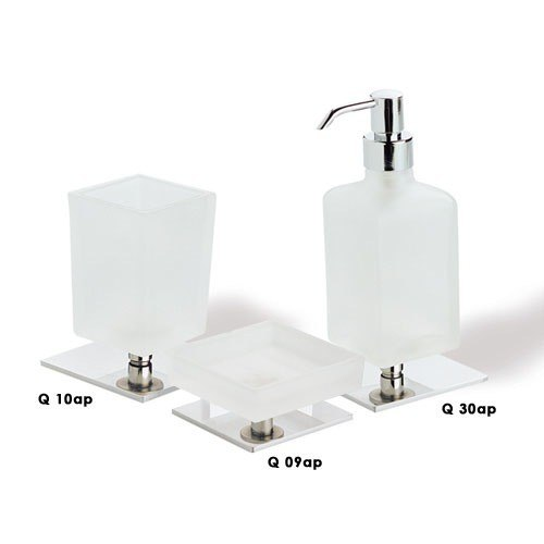STILHAUS Q100 QUID QUID FROSTED GLASS WITH CHROME BASE BATHROOM ACCESSORY SET